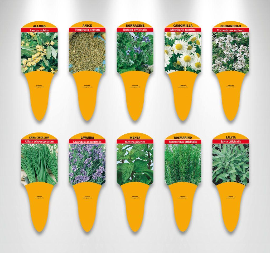etichette per piante aromatiche